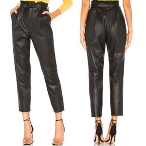 Faux Leather Belted Paper Bag Pants
